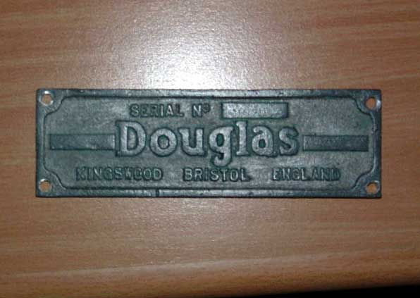 Douglas motorcycle company builders plate